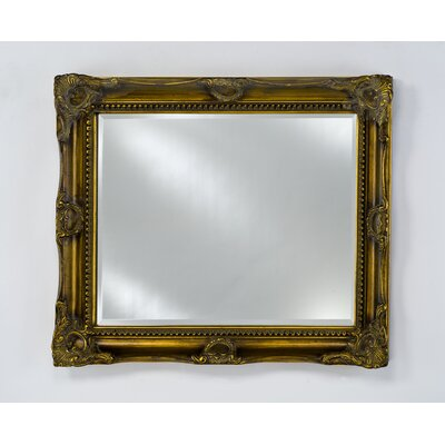 "Estate Bevel Framed Wall Mirror Finish: Antique Burnished Gold, Size: 28"" X 34"""