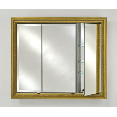 Signature 34 x 30 Recessed Medicine Cabinet Finish: Meridian Antique Gold with Silver Caps