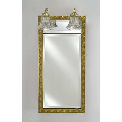 Signature 17 x 30 Recessed Medicine Cabinet with Lighting Finish: Meridian Antique Gold with Antique Gold Caps