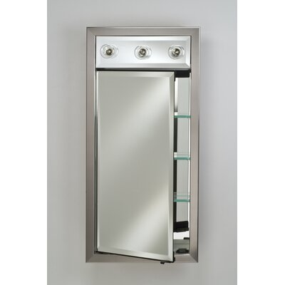 Signature 17 x 30 Recessed Medicine Cabinet with Lighting Finish: Meridian Antique Silver with Antique Gold Caps