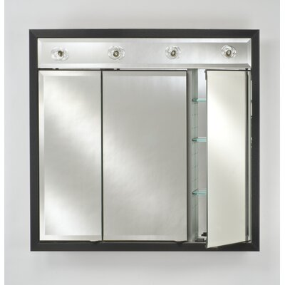 Signature 34 x 34 Recessed Medicine Cabinet with Lighting Finish: Meridian Gold with Silver Caps