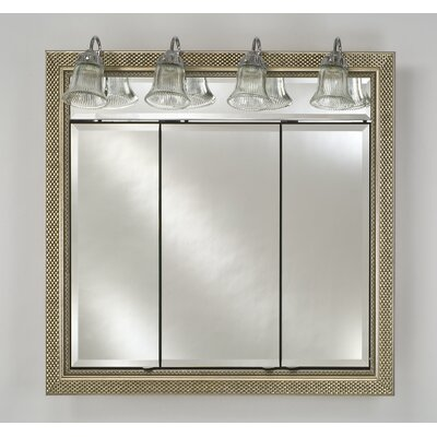 Signature 38 x 34 Recessed Medicine Cabinet with Lighting Finish: Meridian Silver with Gold Caps