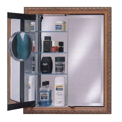 Signature 24 x 34 Recessed Medicine Cabinet with Lighting Finish: Meridian Gold with Silver Caps