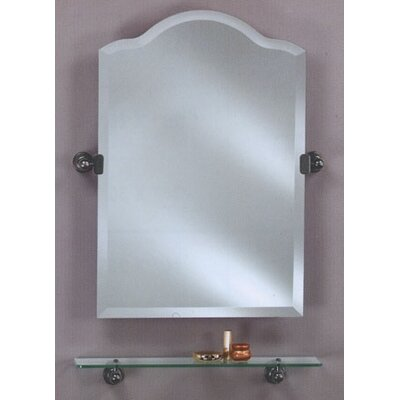 "Scallop Frameless Top Bathroom Mirror Size: 25"" H x 16"" W, Finish: Polished Brass"