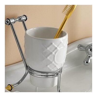 Toscanaluce by Nameeks Free Standing Glass Toothbrush Holder - Finish: Chrome and Gold