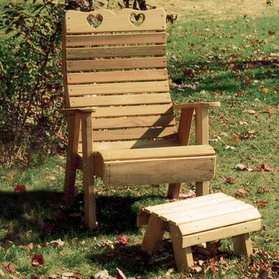 Cedar Country Hearts Patio Chair and Footrest Set Finish: No Finish