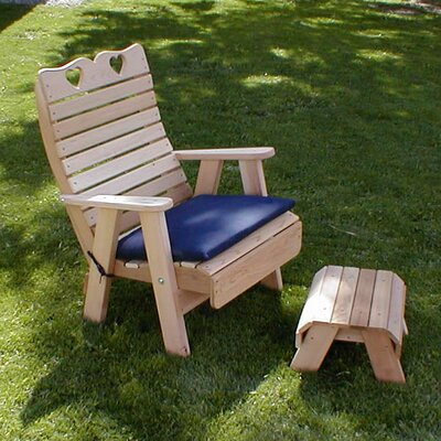 Cedar Country Hearts Patio Chair and Footrest Set Finish: White Stain