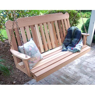 Cedar Porch Swing Size: 4' W, Finish: White Stain