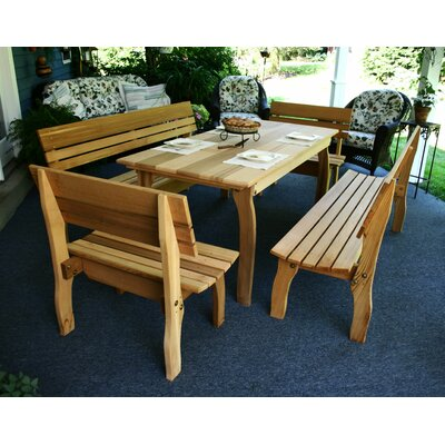Cedar Chickadee 5 Piece Dining Set Table Size: 70, Finish: White Stain