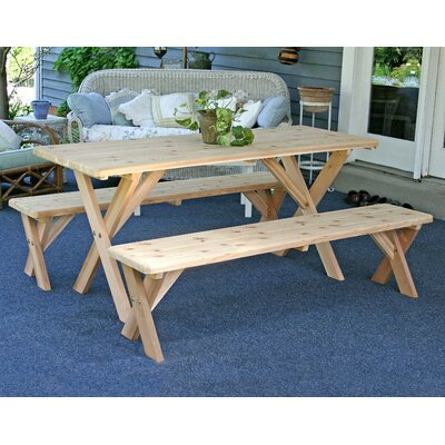 Cedar 3 Piece Dining Set Size: 5, Finish: White Stain