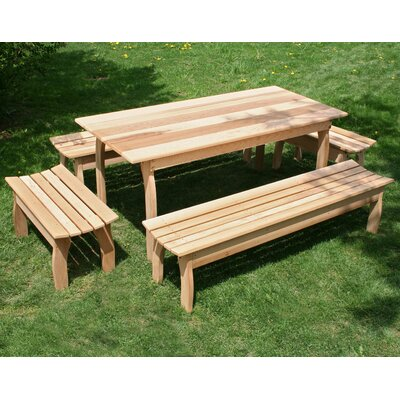 Cedar Family Dining Set Size: 32 W x 70 L, Finish: Cedar Stain/Sealer