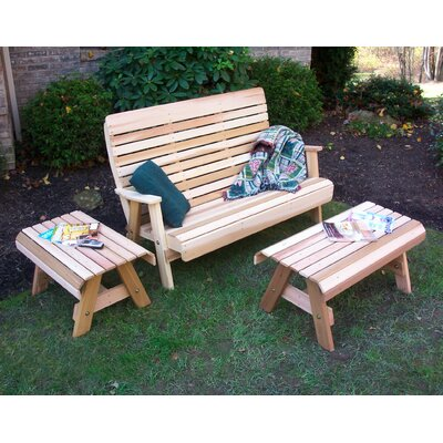 Cedar Twin Ponds Bench Set Finish: No Finish