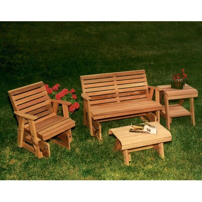 Cedar Rocking Classic Gliders and Tables Set Finish: White Stain