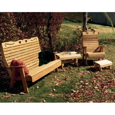 Cedar Twin Ponds Rocking Glider Chair Set Finish: No Finish