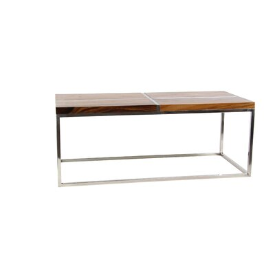Asteria Modern Wood and Stainless Steel Rectangular Coffee Table