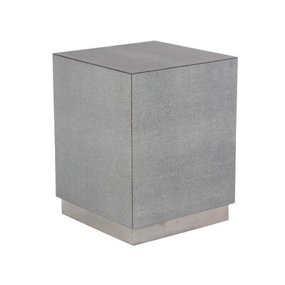 Butner Modern Wood and Stainless Steel Square End Table Color: Gray