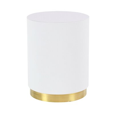 Butner Modern Rounded End Table Color: White