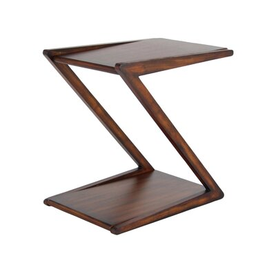 Rempe Modern Wooden Z-Shaped End Table Color: Rustic Brown