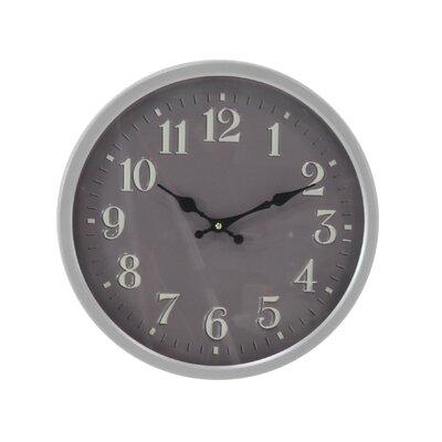 "Raja Modern Iron Round 14"" Wall Clock Finish: Gray RDBT7600 43154322"