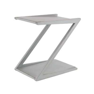 Rempe Modern Wooden Z-Shaped End Table Color: White