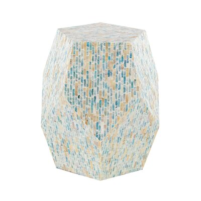 Lozko Natural Wood and Shell Pentagon Faceted End Table