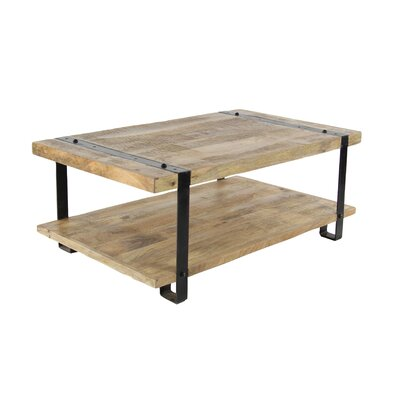 Bianka Industrial Mango Wood and Iron Coffee Table with Magazine Rack