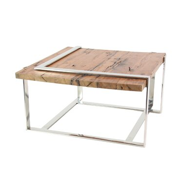 Queena Modern Stainless Steel and Wood Coffee Table with Angled Frame
