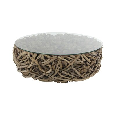 Altagore Natural Round Driftwood Twigs and Glass Coffee Table