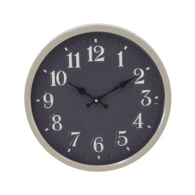 "Raja Modern Iron Round 14"" Wall Clock Finish: Black RDBT7600 43154321"