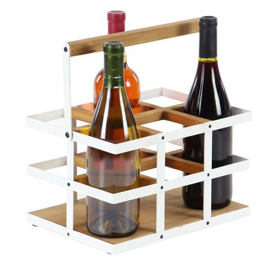 Campa Modern Wood and Metal 6-Bottle Tabletop Wine Bottle Rack Finish: White