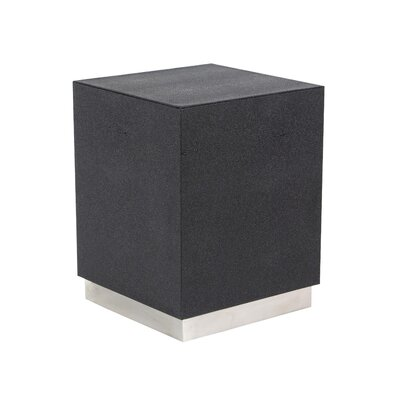 Butner Modern Wood and Stainless Steel Square End Table Color: Black