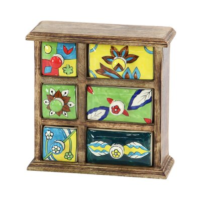 Traditional Wooden Framed 6-Drawer Ceramic Jewellery Box BLMT8294 43156001