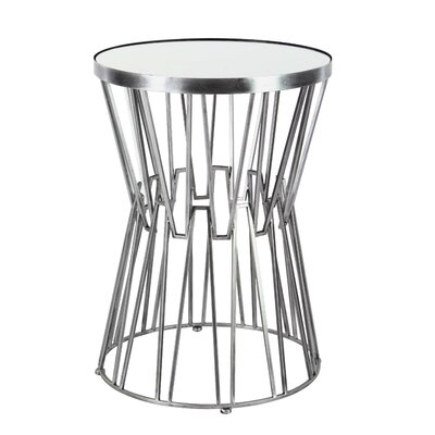 Borealis Modern Iron and Glass Top Hourglass-Shaped End Table