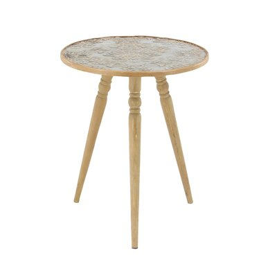 Hanagita Rustic Wood and Iron Round Tripod End Table