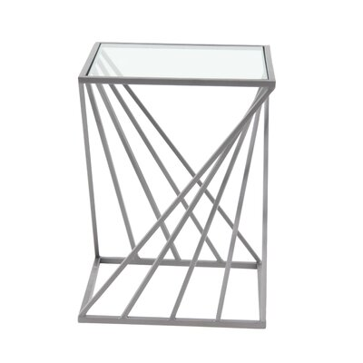 Haedus Modern Iron and Glass Diagonal Lines End Table