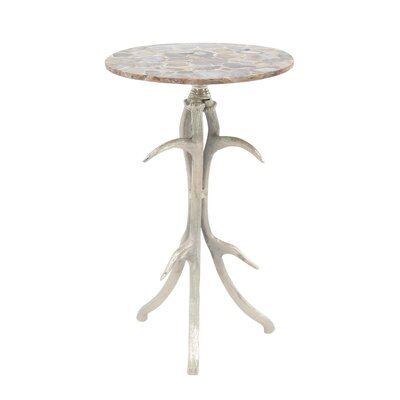 Avion Traditional Aluminum and Agate Round End Table with Antler Tripod Base