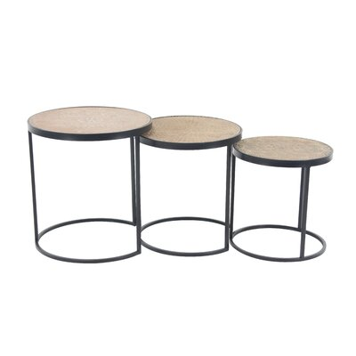 Okemah Modern Wood and Iron Round 3 Piece Nesting Tables
