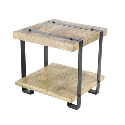 Backes Industrial Mango Wood and Iron End Table