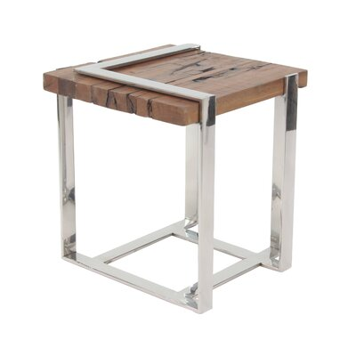 Queena Modern Stainless Steel and Wood Square End Table
