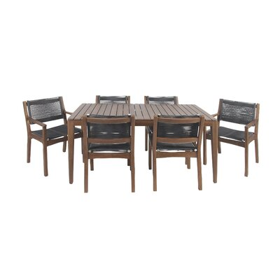 North La Junta Rustic Teak 7 Piece Dining Set