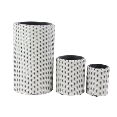Modern Cylindrical Woven 3-Piece Rattan Pot Planter Set