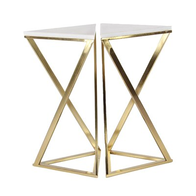 Kierstyn Iron and Marble Hourglass 2 Piece End Tables Set