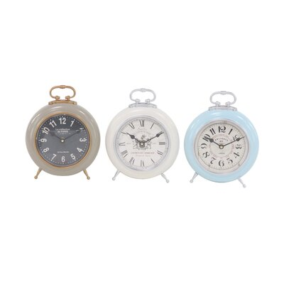 Contemporary Colored Iron Round Decorative Tabletop Clock ONAW3724 43154677