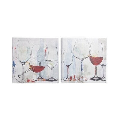 'Wine Goblets' 2 Piece Framed Print Set