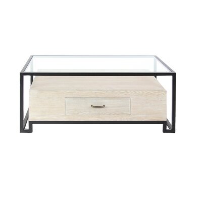 Ashel Modern Iron and Glass Coffee Table with Wooden Bottom Drawer