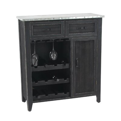 Ramon Traditional 12-Bottle Bar Cabinet with Suspended Rack
