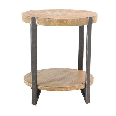 Backlund Modern Wood and Iron 2-Tiered Round End Table
