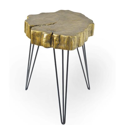 Buzzard Rustic Iron and Resin Crosscut Tree End Table Color: Gold