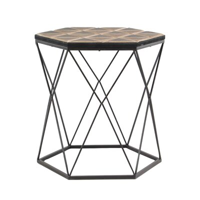 Bussey Modern Wood and Iron Hexagonal End Table