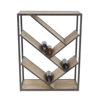 Viktoria Modern Slanted Fir Wood and Iron Rectangular Tabletop Wine Bottle Rack